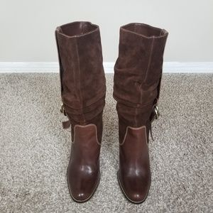 Nine West Brown Suede Leather Knee Boots 8.5M